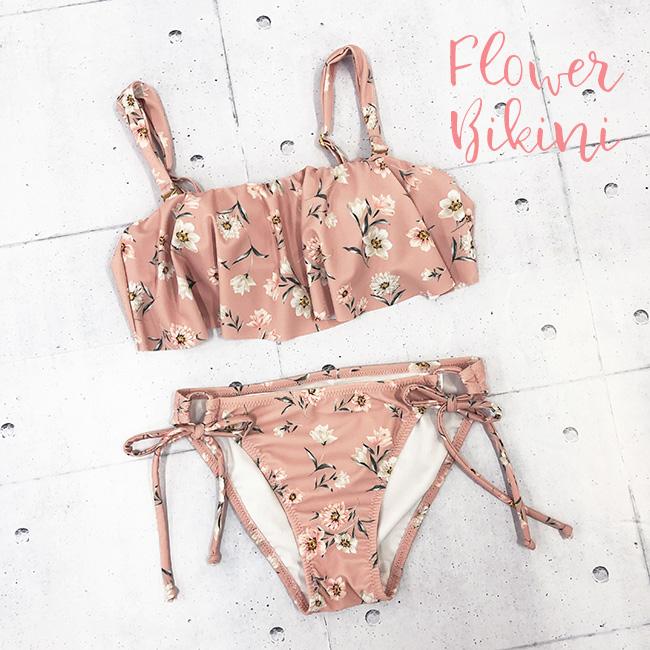 ピンク花柄ビキニ